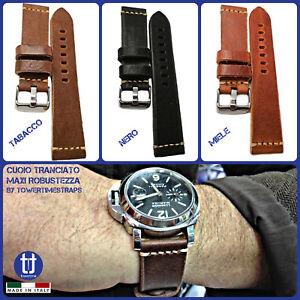Cinturino in vera pelle cuoio per orologio Vintage MAXI SPESSORE da 22 24 mm