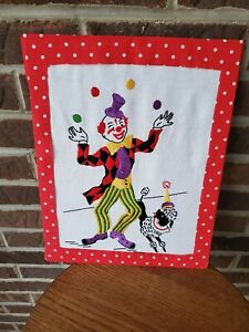 Vintage Embroidered Circus Clown In Primary Colors Childrens Room Decor Ebay
