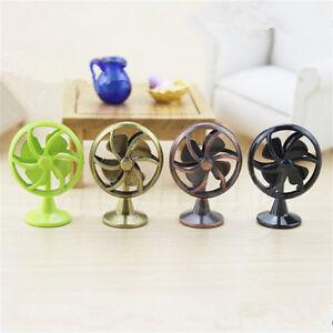 Dollhouse Miniature 1:12 Retro Alloy Electric Fan Home Furniture Accessory Decor