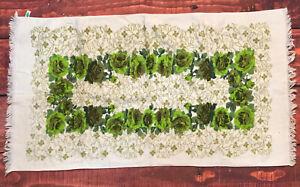 VTG-1960s-Sayco-California-Avocado-Green-Rose-Floral-Bath-Towel-Mid-Century-MCM