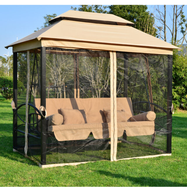 Garden Gazebo Marquee Shelter Canopy Swing Chair Hammock Bench Seat 3-4 Seater