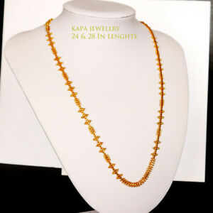 22k Real Looking Gold Black Beads Necklace Chain Kapa Jewelry Necklaces & Pendants