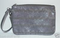 Bath Body Works Grey Sparkly Sequin Bag Purse Makeup Cosmetic Clutch Wallet