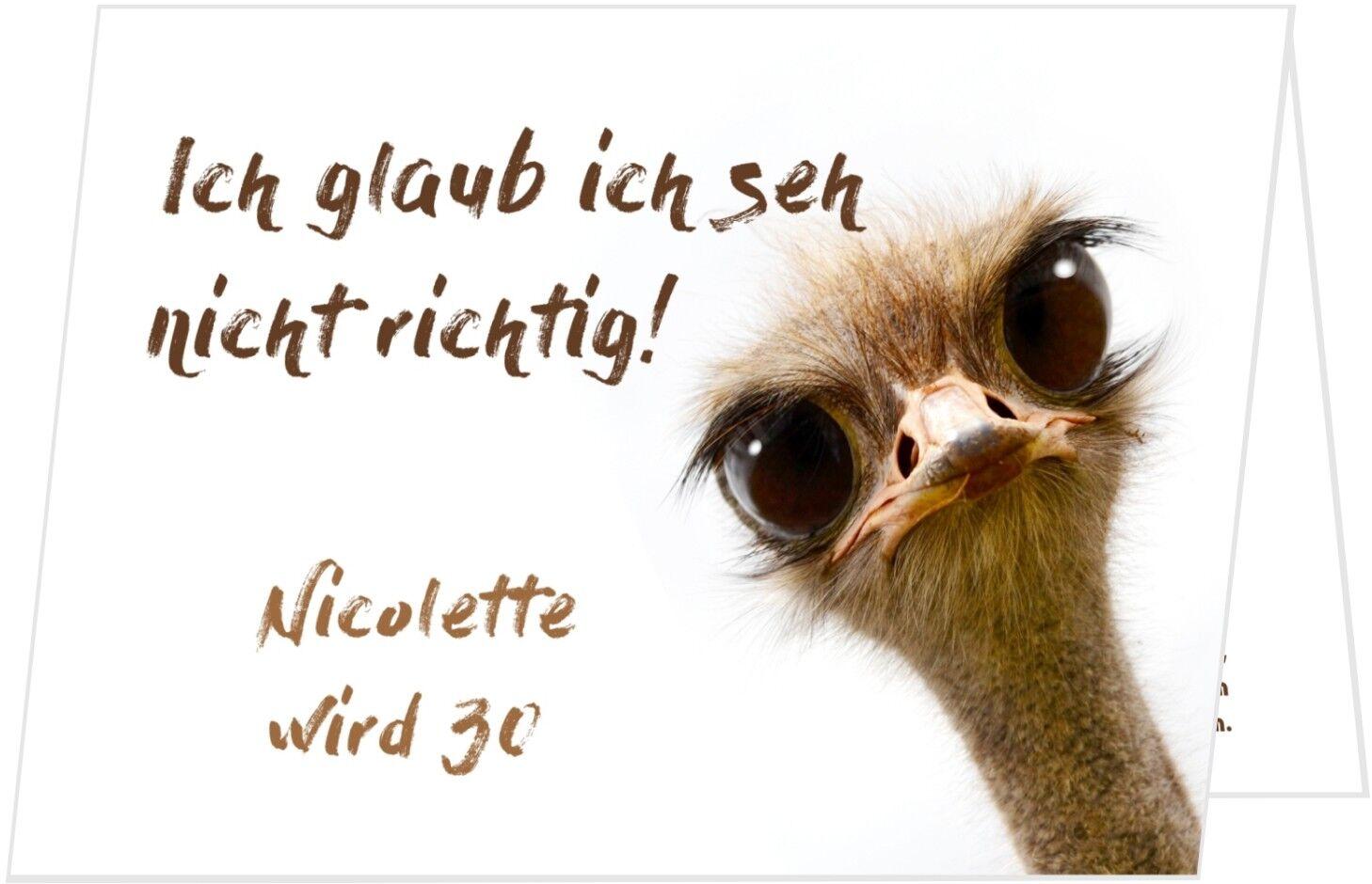 Einladungskarte Klappkarte Geburtstag Schräger Vogel - Wunschtext, JEDES Alter