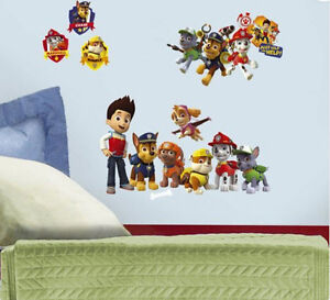 Image Is Loading PAW PATROL Wall Stickers 37 Decals Ryder Chase