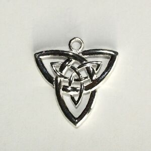 Celtique-Trinite-Noeud-Triquetra-Solide-925-Argent-Pendentif-necklace-21mm