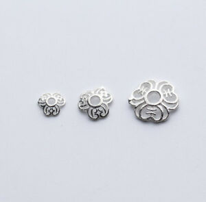 925-Sterling-Silver-5-10mm-Flower-Bead-Caps-Charms-Spacer-Findings-DIY-A2251