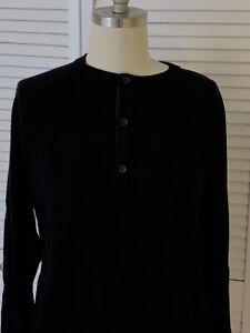Banana-Republic-Mens-XL-Henley-Sweater-Black-Long-Sleeve-Pullover-Wool-amp-Acrylic