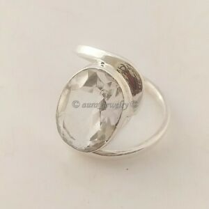 Crystal-Gemstone-Solid-925-Sterling-Silver-Ring-Handmade-Jewelry-All-SIZES