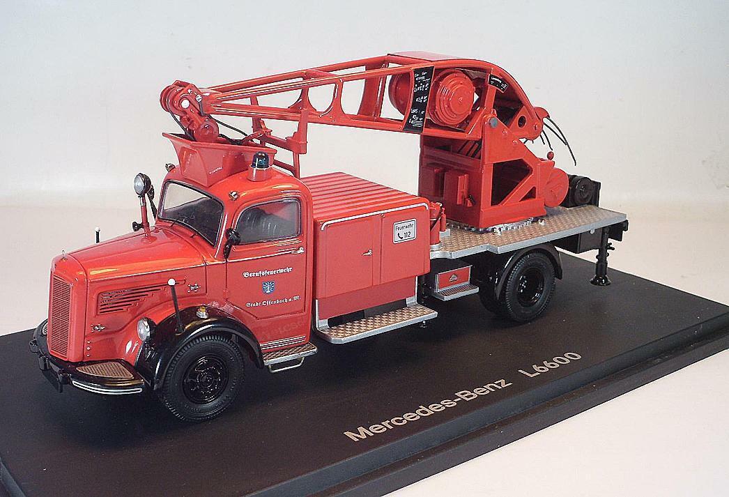 Schuco 1 43 MERCEDES BENZ l6600 pompieri con gru FW Offenbach A.M. OVP  3487