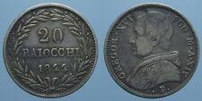 GREGORIO XVI RARO 20 BAIOCCHI 1844 A.XIV BOLOGNA BB