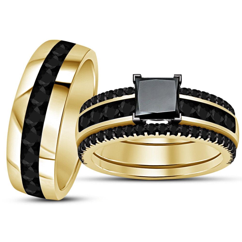 Princess Cut Diamond Wedding Trio Set Engagement Bridal Ring 14K Yellow gold Fn