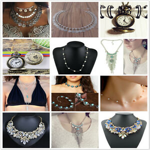 Fashion-Charm-Chunky-Crystal-Statement-Bib-Chain-Choker-Pendant-Necklace-Jewelry