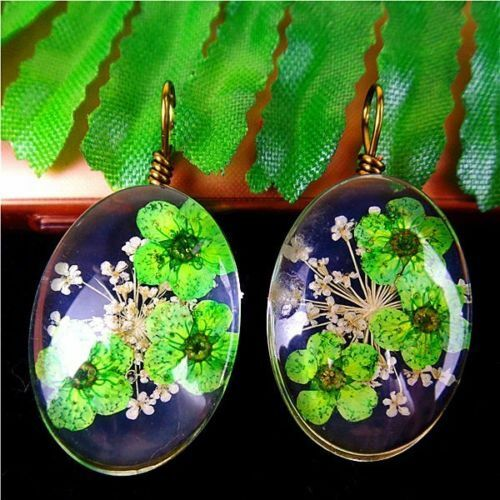 2Pcs Delicate Crystal Glass Dried Flower Oval Pendant Bead 25*18*13mm AE5120