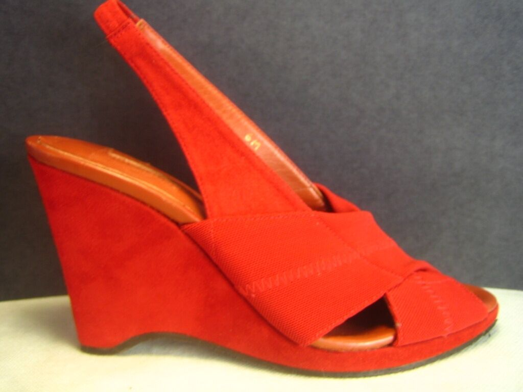 Donald Donald Donald J Pliner Spain Red Wedge Slingbacks Sandals, 6M 8d150f
