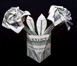 Money Origami Flower Vase Handmade Real One Dollar Bill Home Decor
