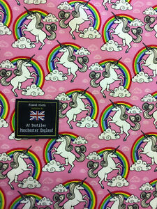 Unicorn Rainbow Print in Pink 100/% Cotton Fabric****sold by half metre****