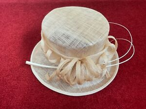 CLASSICS by FAILSWORTH MILLINERY 100% Sinamay Beige Formal Occasion Hat