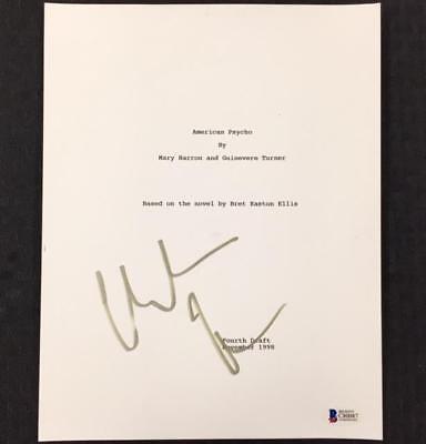 Candid Christian Bale Signed American Psycho Movie Script Cover Auto W/ Bas Beckett Coa Movies Autographs-original