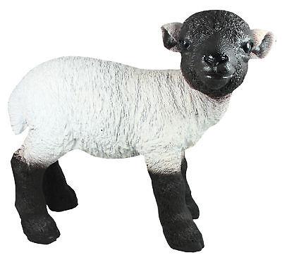 Rhönschaf Schaf Schäfchen Kopf schwarz Figur Statue Gartenfigur Garten Deko neu