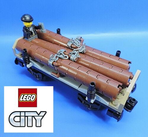 LEGO® City Eisenbahn 60198 schwenkbaren Kranwaggon und Holz waggon 2 Figuren