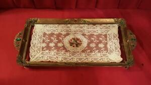 1920-039-s-Antique-Jeweled-Vanity-Perfume-Tray-w-Lace-Insert