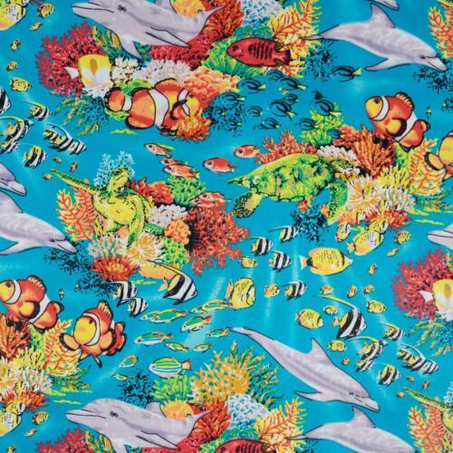 Preis=0,5m Baumwollstoff Popeline Meereswelt Modestoff Damenstoff