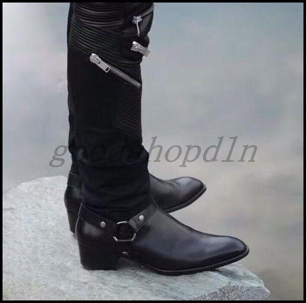 grandi offerte Vogue Uomo Leather Pointy Toe Chelsea Ankle stivali Chain Chain Chain Buckle Club Street scarpe  nuovo stile