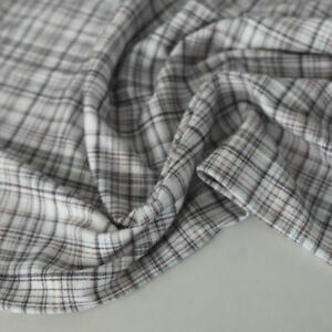 Designer Fein Karo Jersey Stoff Klassische Baumwolle Kleiderstoff Meterware