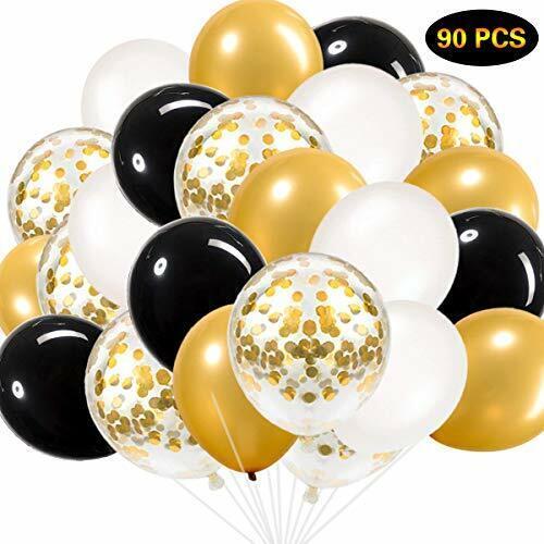 SZHUIHER Schwarz und Gold Luftballons Schwarz Gold Weiß Luftballons Insgesamt