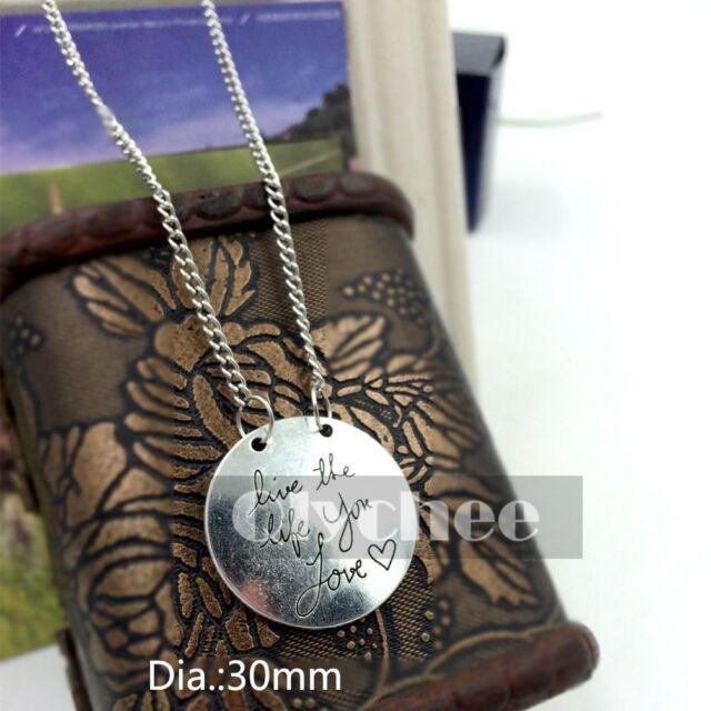 1X  Women Girls  Fashion Silver Necklace Jewelry Chain Round Pendant 30mm Cheap