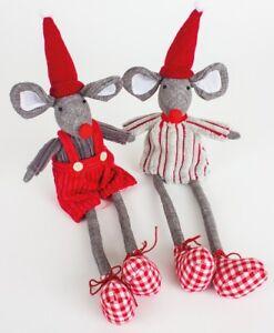Mr /& Mrs MOUSE fabric sitting mice CHRISTMAS DECORATIONS shelf ornament 12cm