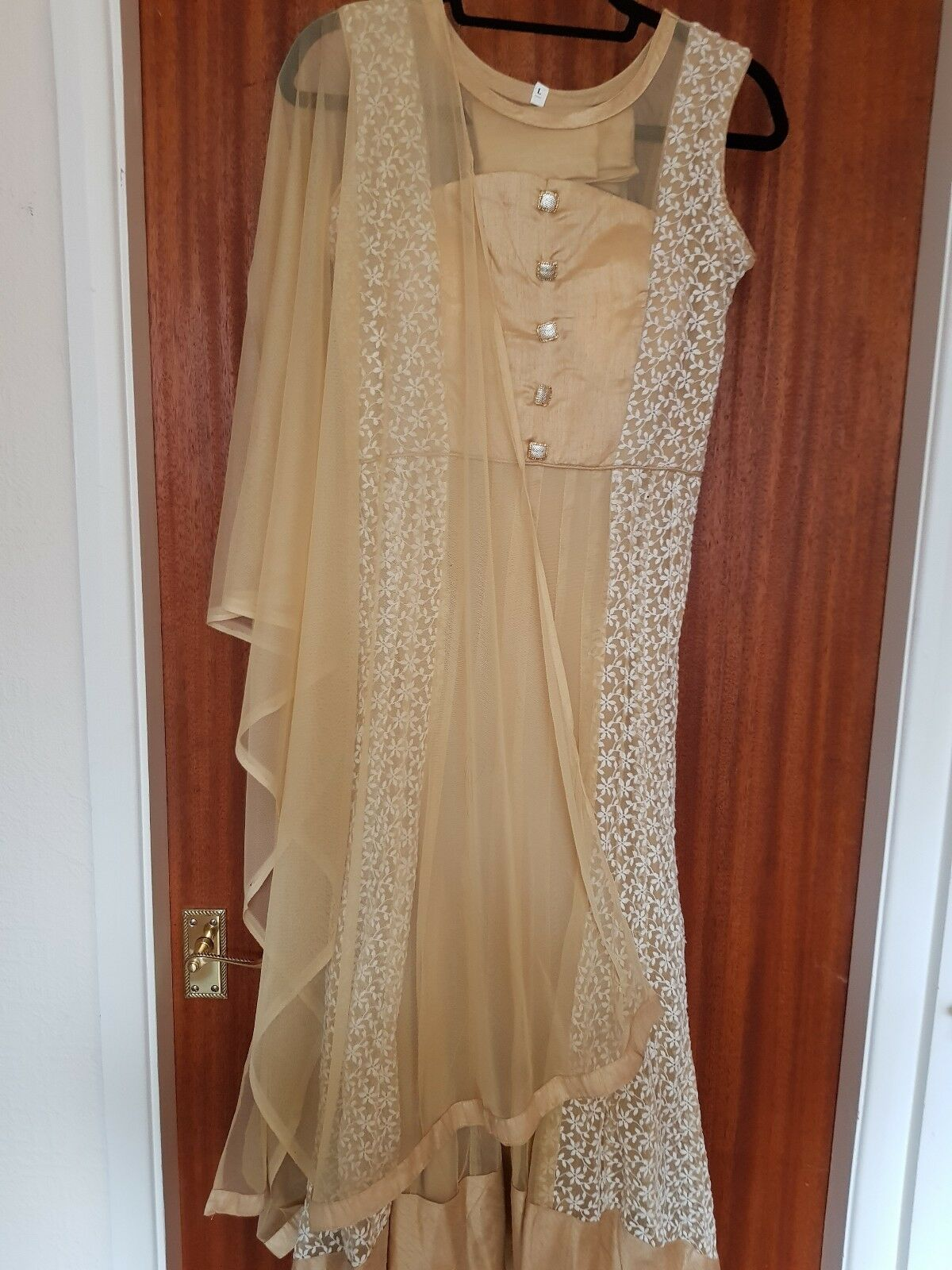 golden Cream colord Anarkali, Brand New Size L with Dupatta and pyjama