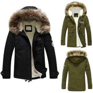 Mens Warm Fur Collar Hooded Parka Winter Thick Down Coat Outwear