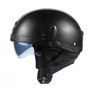 PU-Leather-Motorcycle-Open-Face-Half-Helmet-With-Sun-Visor-Detachable-Collar-SH