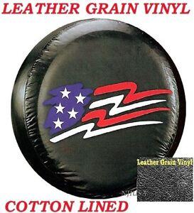 "LINED VINYL LEATHER GRAIN SPARE TIRE COVER 12-14"" rim Pop-up Camper US Flag   eBay"