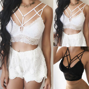 Fashion-Women-Sexy-Lace-Solid-Bandage-Bralette-Bustier-Crop-Tops-Bra-Shirts-Vest
