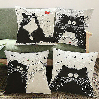 Vintage Cat Cotton Linen Pillow Case Sofa Waist Throw Cushion Cover Home Decor