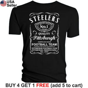Pittsburgh-Steelers-T-Shirt-JD-Whiskey-Graphic-PIT-Men-Cotton-Whisky