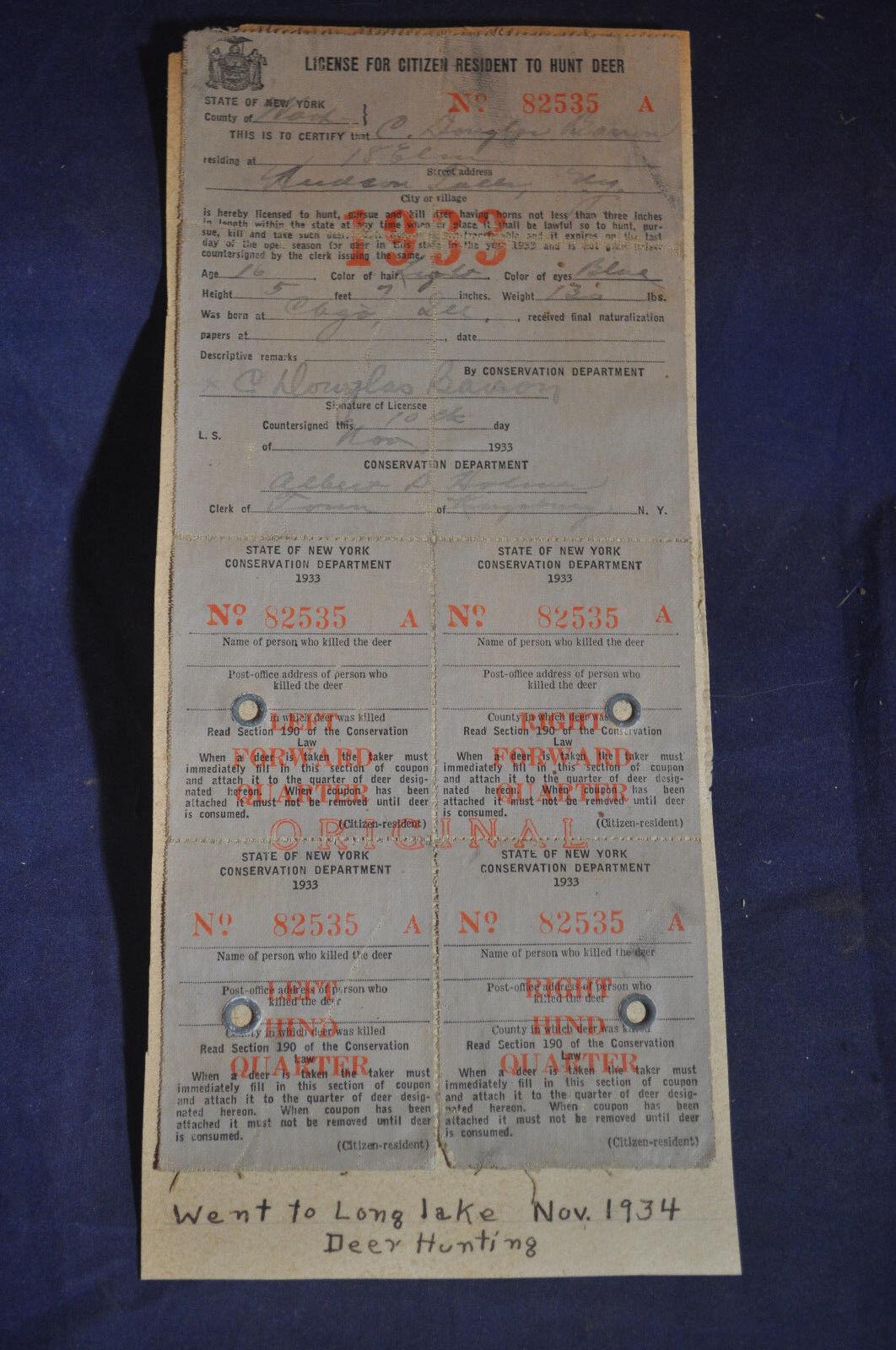 Nueva licencia de caza de ciervos York 1933  Larga Lago