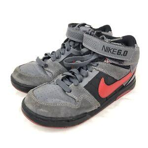 Nike 6.0 Morgan Mid 2 JR Skate Shoes Grey Red Black Youth Size 3.5Y