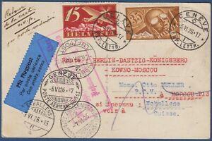 "Svizzera - 1926 - Cartolina via aerea ""Berlino-Danzica-Konigsberg-Kaunas-Mosca"""