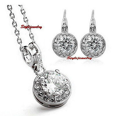 Jewelry Sets Beautiful Silver Clear Round Drop Diamond Wedding Set Made With Swarovski Crystal N293ie81 Lustrous