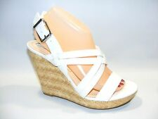 Women's Jessica Simpson Julita 9 M White Slingback Platform Wedge Heels Shoes