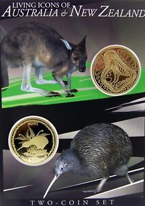 2005-LIVING-ICONS-OF-AUSTRALIA-amp-NEW-ZEALAND-Coins-on-Card