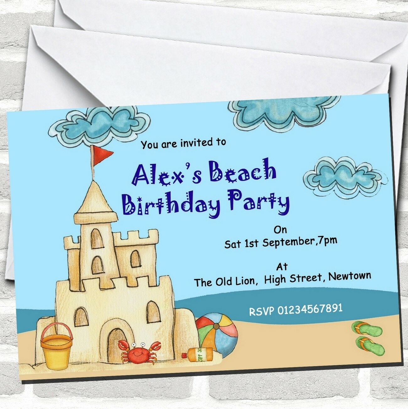 Beach Pool Sandcastle Theme Birthday Party Invitations Bad9c1