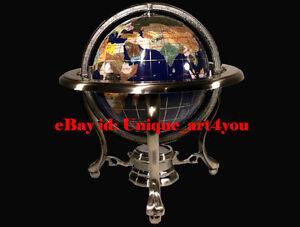 14-034-Blue-Ocean-Silver-3-leg-table-stand-Gem-Gemstone-World-MAP-globe-OPEN-BOX