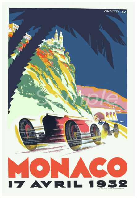 Vintage 1932 Monaco Grand Prix Motor Racing Poster A4//A3//A2//A1 Print