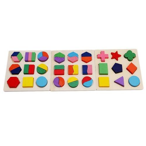 Wooden-Tetris Building Block Puzzle Montessori Preschool Educational Toy Gift LA