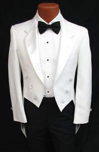 278dca86929 Men's White Tuxedo Tailcoat with Satin Notch Lapels Vampire ...